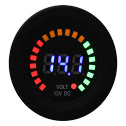 12V Voltmeter - Dual Display, Waterproof, LED, Multicolour, Free Shipping