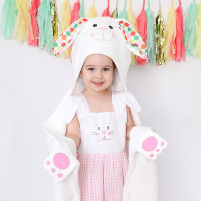 ZOOCCHINI Kids Plush Terry Hooded Bath Towel - Bella the Bunny-2