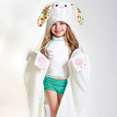 ZOOCCHINI Kids Plush Terry Hooded Bath Towel - Bella the Bunny-1
