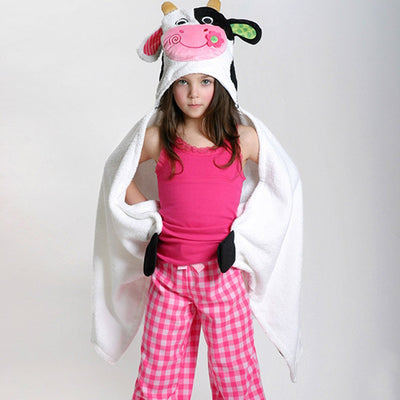ZOOCCHINI Kids Plush Terry Hooded Bath Towel - Casey the Cow-2