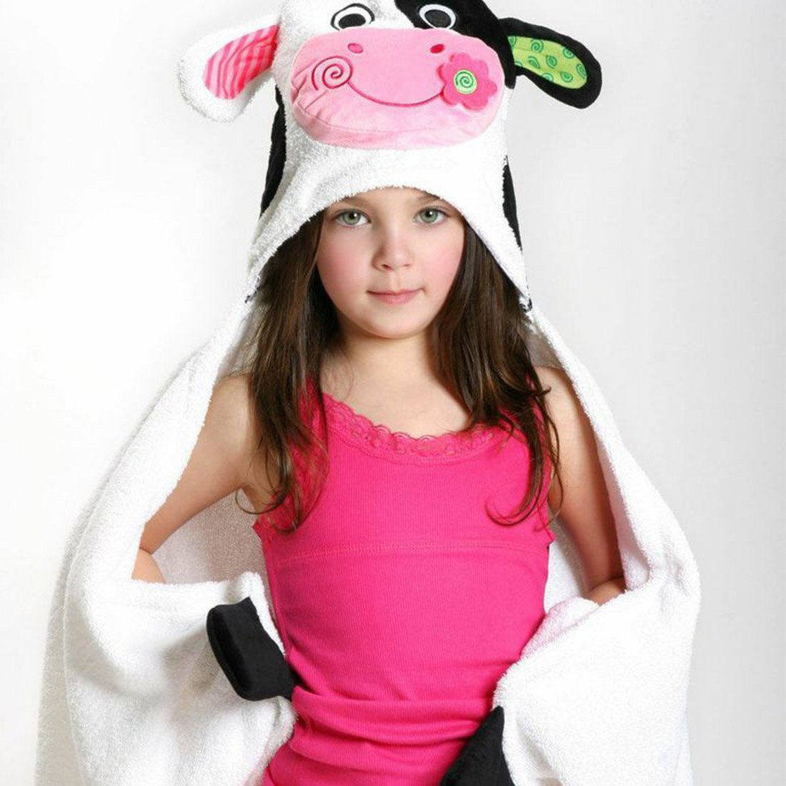 ZOOCCHINI Kids Plush Terry Hooded Bath Towel - Casey the Cow