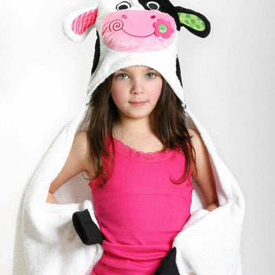 ZOOCCHINI Kids Plush Terry Hooded Bath Towel - Casey the Cow-1