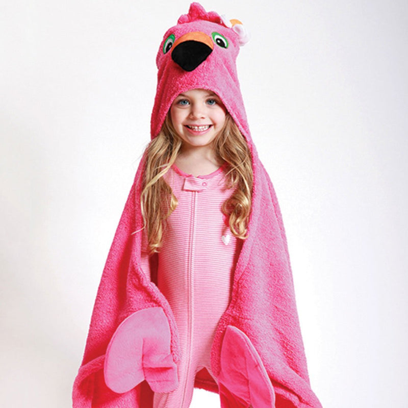 ZOOCCHINI Kids Plush Terry Hooded Bath Towel - Franny the Flamingo