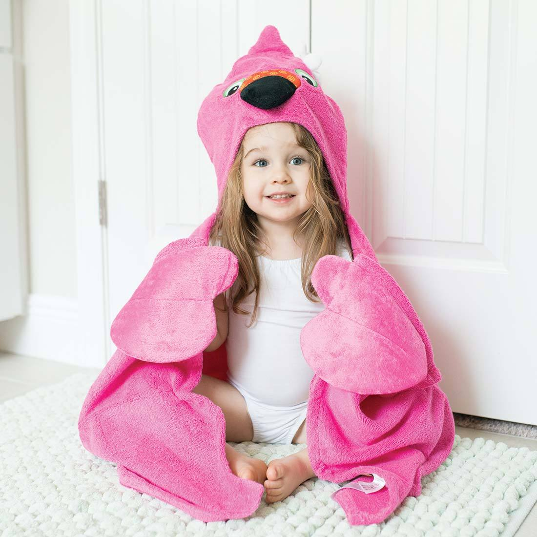 ZOOCCHINI Kids Plush Terry Hooded Bath Towel - Franny the Flamingo-1