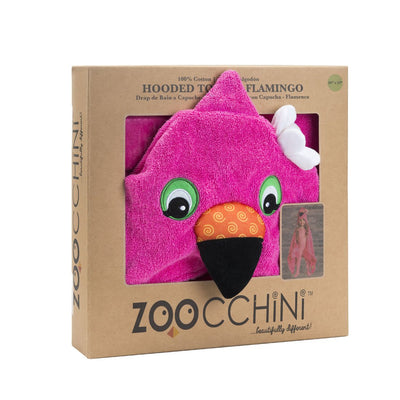 ZOOCCHINI Kids Plush Terry Hooded Bath Towel - Franny the Flamingo-6