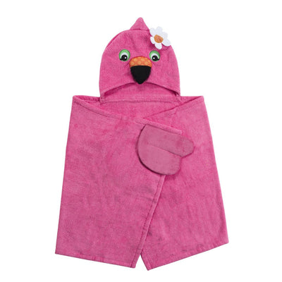 ZOOCCHINI Kids Plush Terry Hooded Bath Towel - Franny the Flamingo-4
