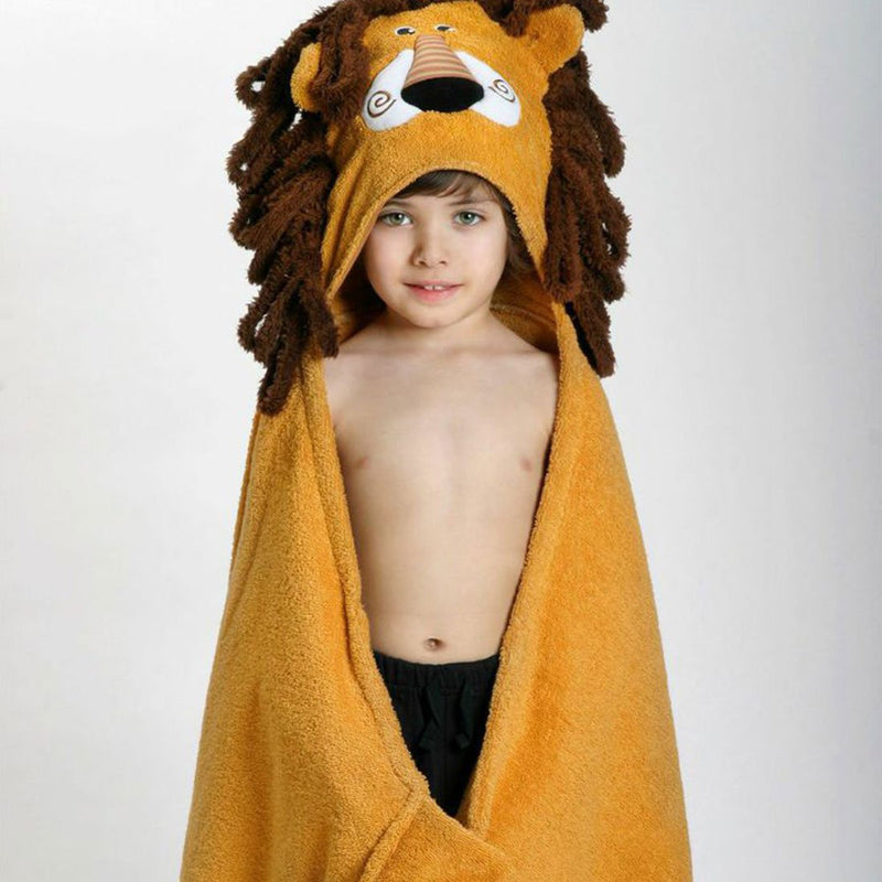 ZOOCCHINI Kids Plush Terry Hooded Bath Towel - Leo the Lion-1