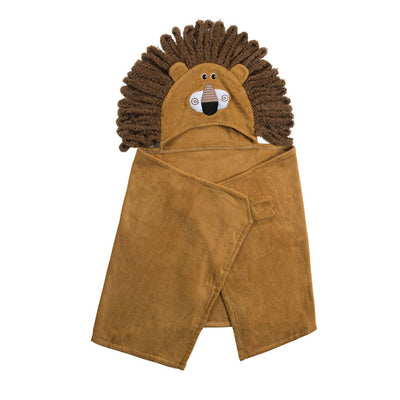 ZOOCCHINI Kids Plush Terry Hooded Bath Towel - Leo the Lion-3