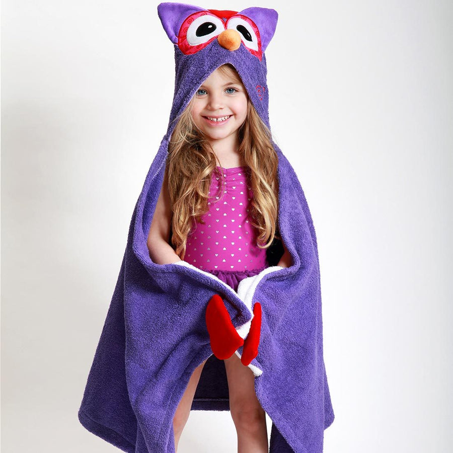 ZOOCCHINI Kids Plush Terry Hooded Bath Towel - Olive the Owl-1