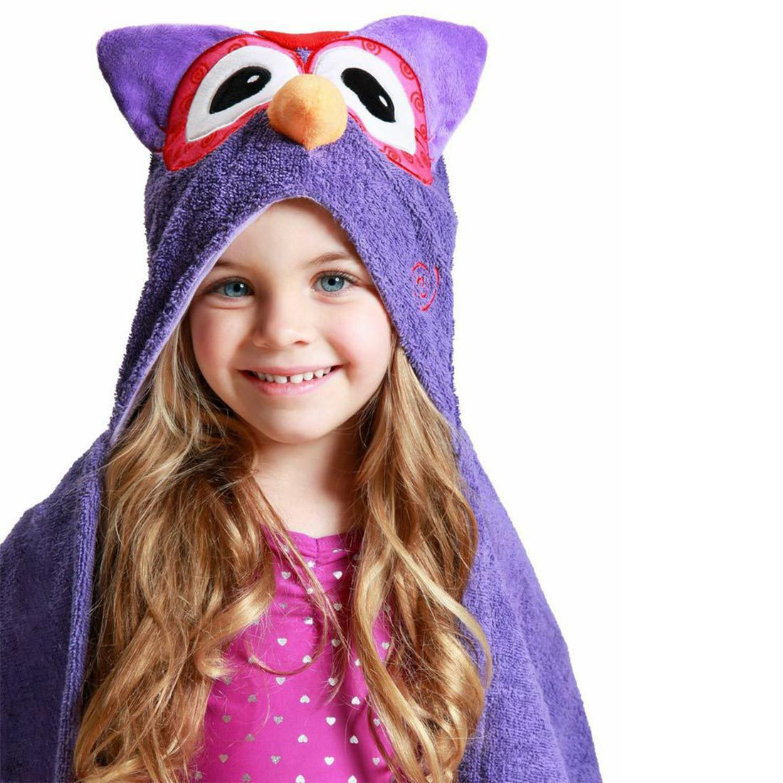 ZOOCCHINI Kids Plush Terry Hooded Bath Towel - Olive the Owl