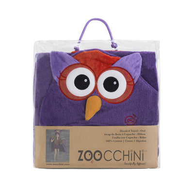 ZOOCCHINI Kids Plush Terry Hooded Bath Towel - Olive the Owl-6