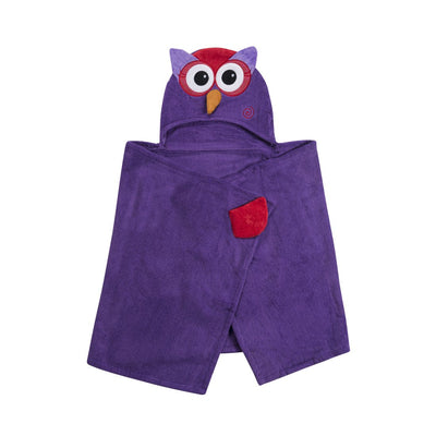 ZOOCCHINI Kids Plush Terry Hooded Bath Towel - Olive the Owl-4