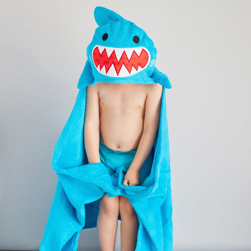 ZOOCCHINI Kids Plush Terry Hooded Bath Towel - Sherman the Shark-1