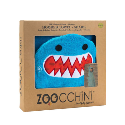 ZOOCCHINI Kids Plush Terry Hooded Bath Towel - Sherman the Shark-5