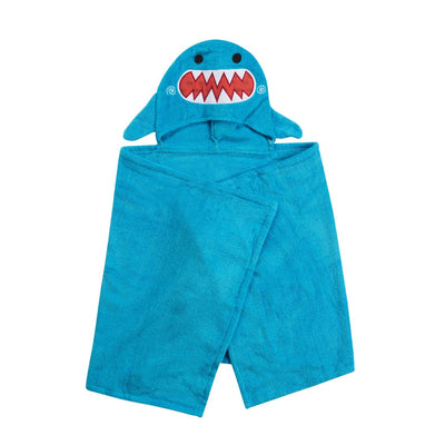 ZOOCCHINI Kids Plush Terry Hooded Bath Towel - Sherman the Shark-3