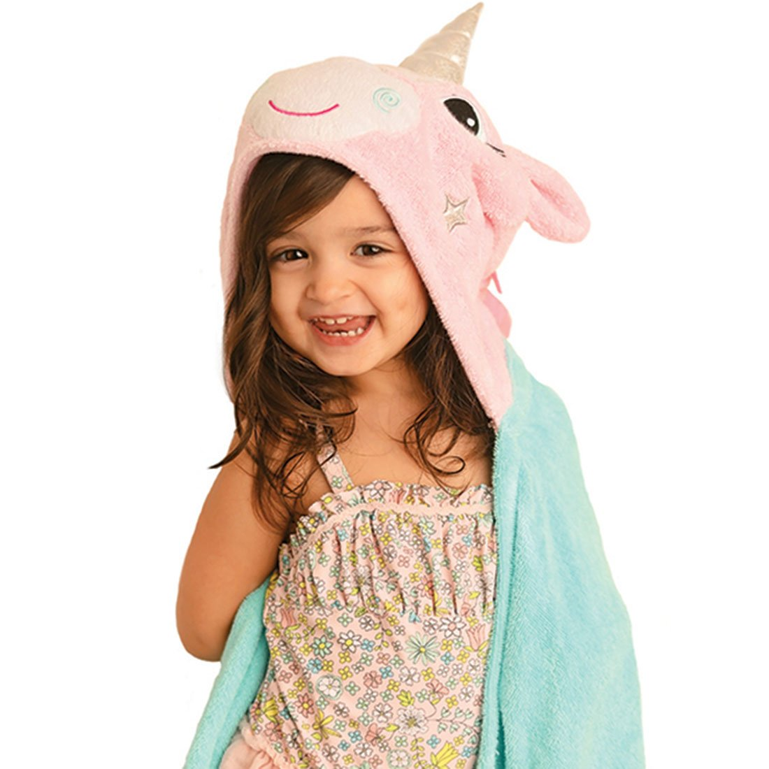ZOOCCHINI Kids Plush Terry Hooded Bath Towel - Allie the Alicorn