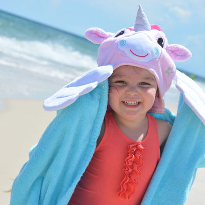 ZOOCCHINI Kids Plush Terry Hooded Bath Towel - Allie the Alicorn-3