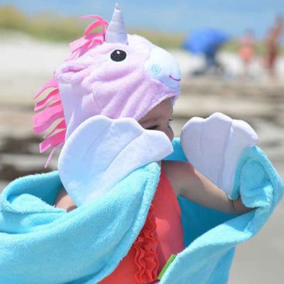 ZOOCCHINI Kids Plush Terry Hooded Bath Towel - Allie the Alicorn-2