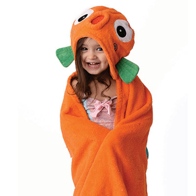 ZOOCCHINI Kids Plush Terry Hooded Bath Towel - Sushi the Tropical Fish-1