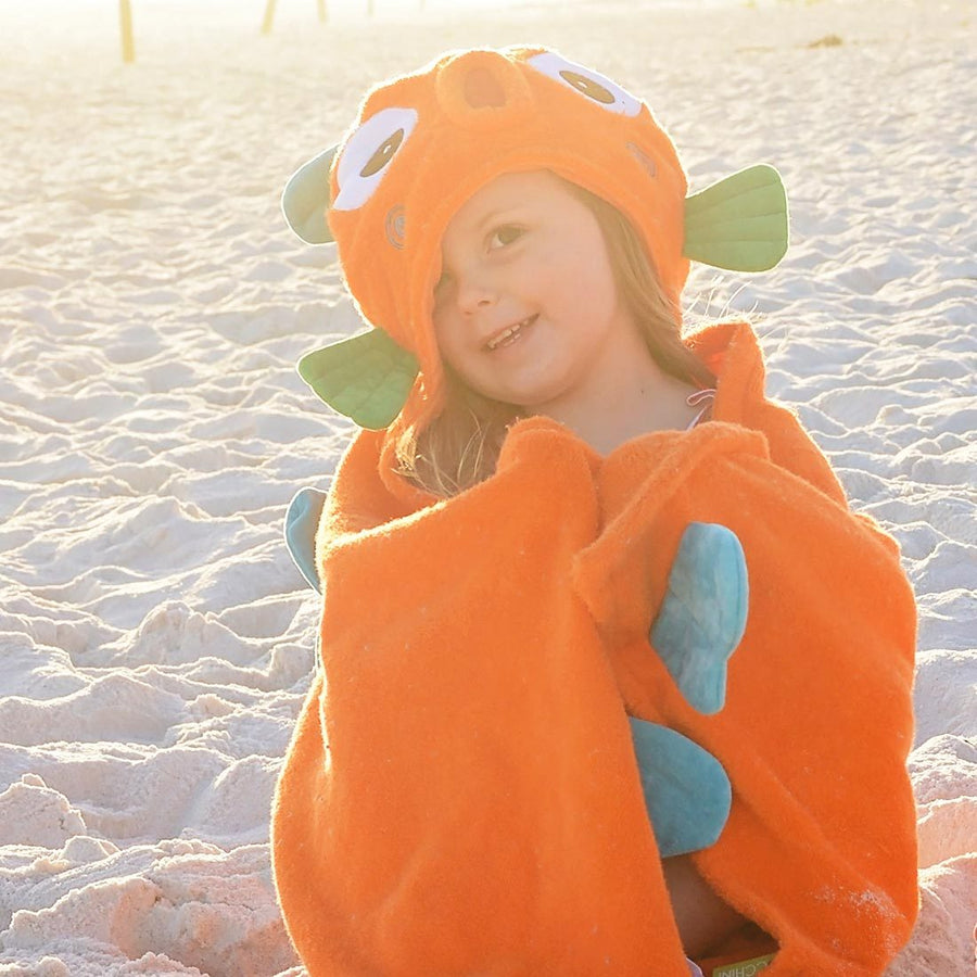 ZOOCCHINI Kids Plush Terry Hooded Bath Towel - Sushi the Tropical Fish