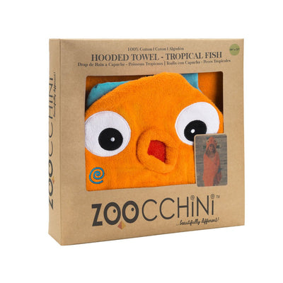 ZOOCCHINI Kids Plush Terry Hooded Bath Towel - Sushi the Tropical Fish-4