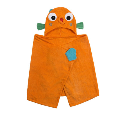 ZOOCCHINI Kids Plush Terry Hooded Bath Towel - Sushi the Tropical Fish-5