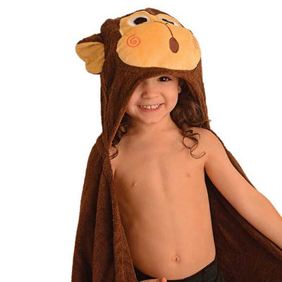 ZOOCCHINI Kids Plush Terry Hooded Bath Towel - Chippy the Chimp-1