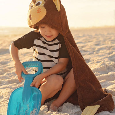 ZOOCCHINI Kids Plush Terry Hooded Bath Towel - Chippy the Chimp-2
