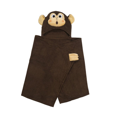 ZOOCCHINI Kids Plush Terry Hooded Bath Towel - Chippy the Chimp-3