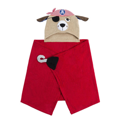 ZOOCCHINI Kids Plush Terry Hooded Bath Towel - Pedro the Pirate Dog-4