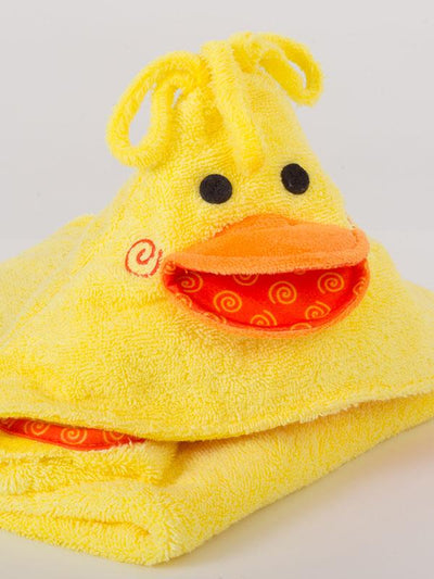ZOOCCHINI Baby Snow Terry Hooded Bath Towel - Puddles the Duck-3