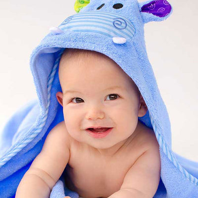 ZOOCCHINI Baby Snow Terry Hooded Bath Towel - Henry the Hippo-2