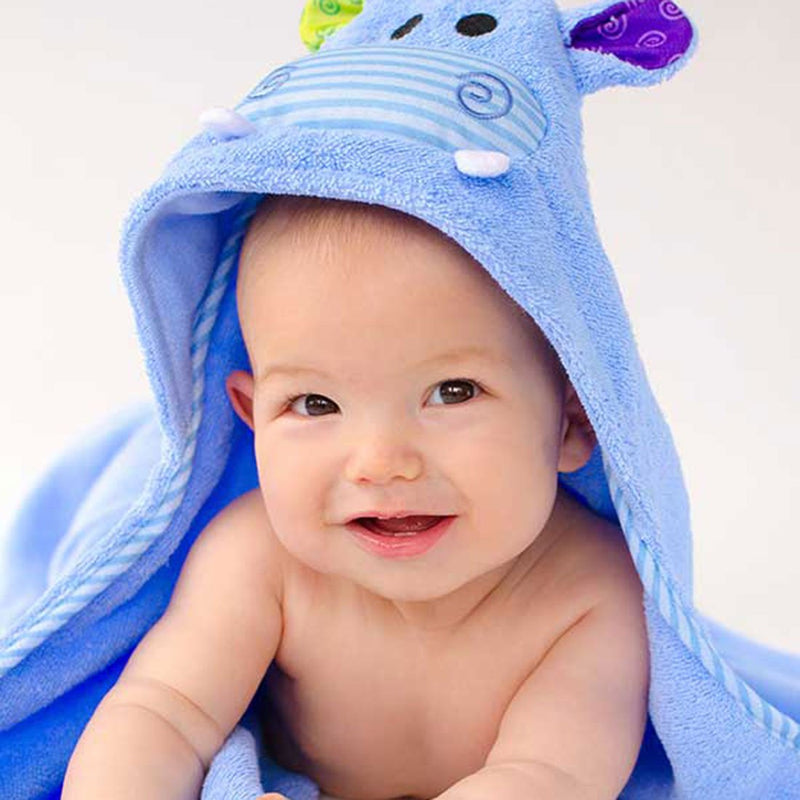 ZOOCCHINI Baby Snow Terry Hooded Bath Towel - Henry the Hippo