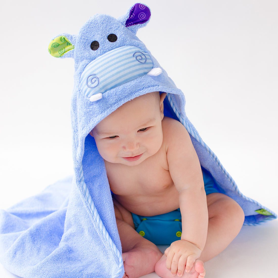 ZOOCCHINI Baby Snow Terry Hooded Bath Towel - Henry the Hippo-1