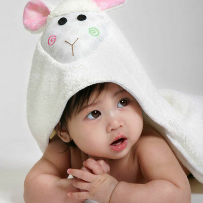 ZOOCCHINI Baby Snow Terry Hooded Bath Towel - Lola the Lamb-2