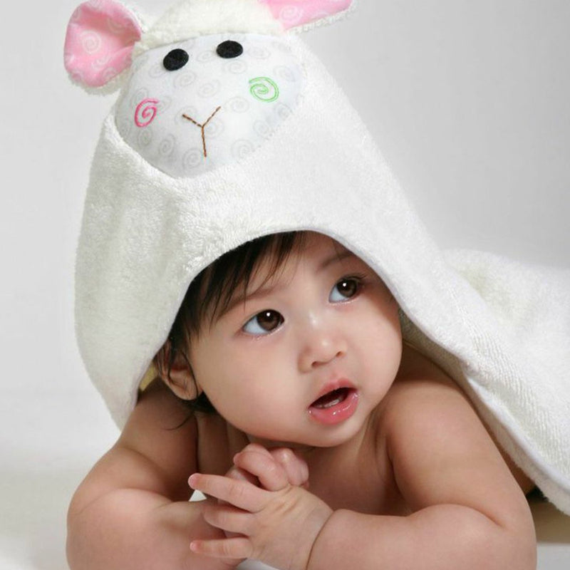 ZOOCCHINI Baby Snow Terry Hooded Bath Towel - Lola the Lamb-1