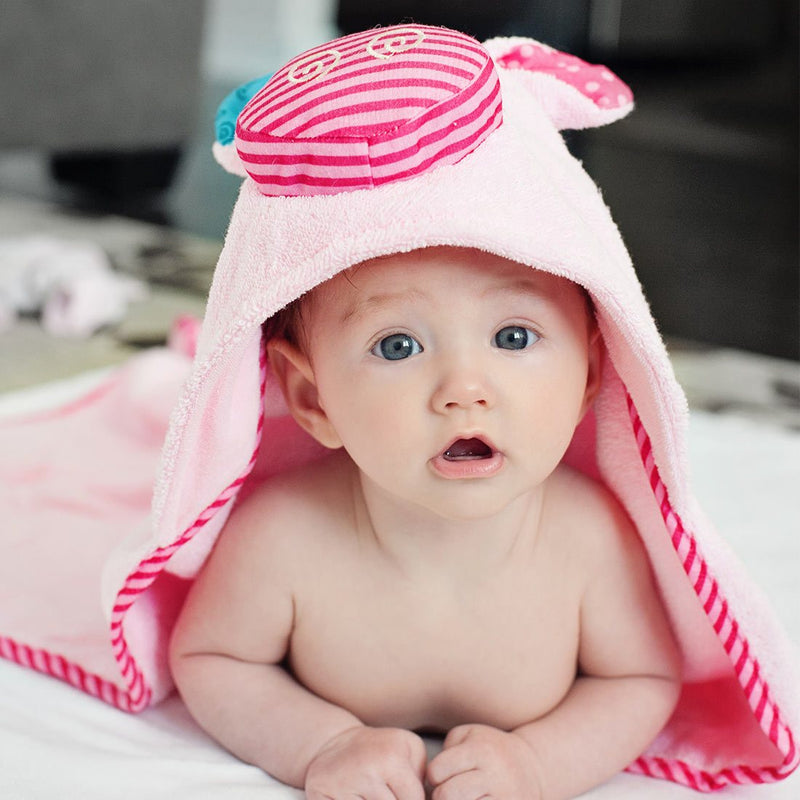 ZOOCCHINI Baby Snow Terry Hooded Bath Towel - Pinky the Piglet