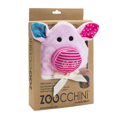 ZOOCCHINI Baby Snow Terry Hooded Bath Towel - Pinky the Piglet-4