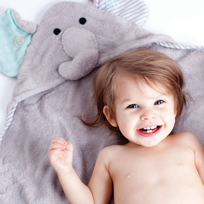 ZOOCCHINI Baby Snow Terry Hooded Bath Towel - Elle the Elephant-1