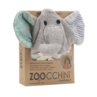ZOOCCHINI Baby Snow Terry Hooded Bath Towel - Elle the Elephant-3