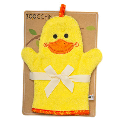 ZOOCCHINI Baby Snow Terry Bath Mitt - Puddles the Duck-1