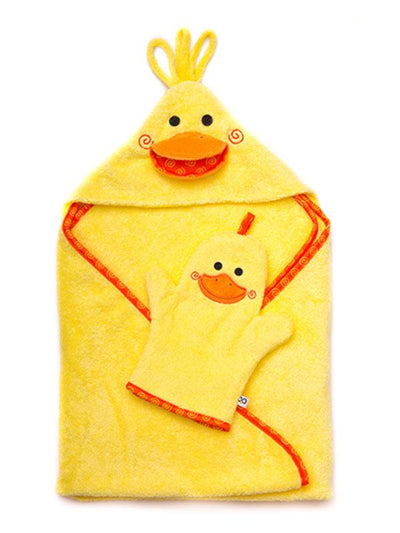 ZOOCCHINI Baby Snow Terry Bath Mitt - Puddles the Duck-2