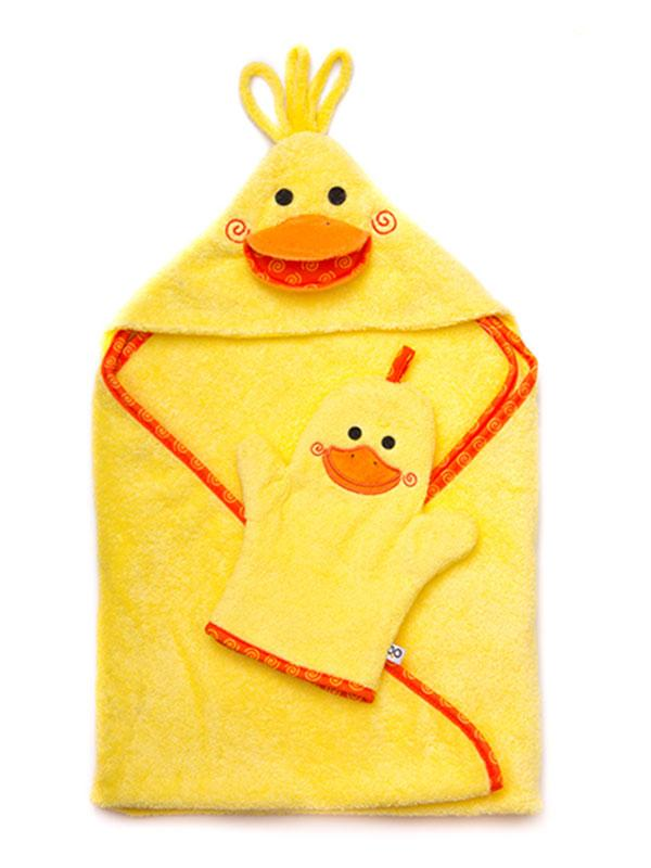 ZOOCCHINI Baby Snow Terry Bath Mitt - Puddles the Duck
