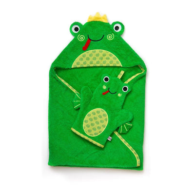ZOOCCHINI Baby Snow Terry Bath Mitt - Flippy the Frog-2