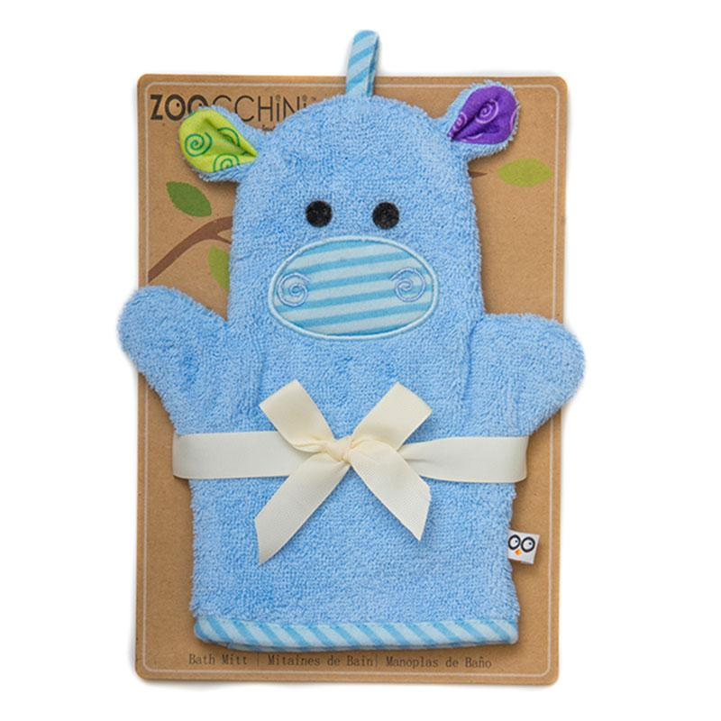 ZOOCCHINI Baby Snow Terry Bath Mitt - Henry the Hippo-1
