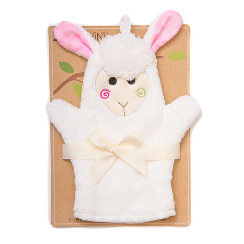 ZOOCCHINI Baby Snow Terry Bath Mitt - Lola the Lamb-1