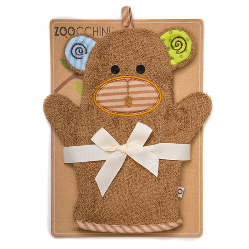 ZOOCCHINI Baby Snow Terry Bath Mitt - Max the Monkey-1