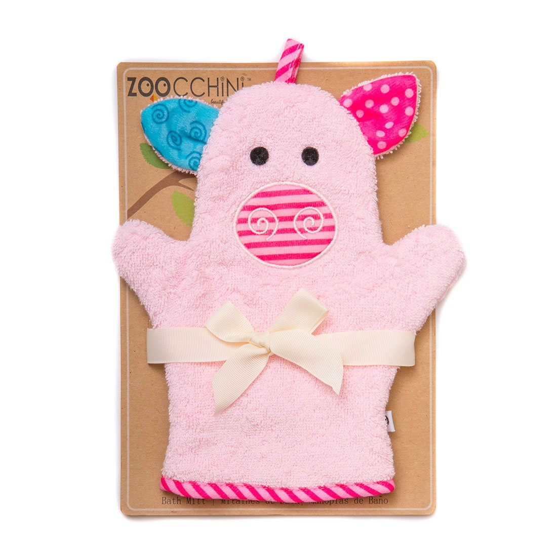 ZOOCCHINI Baby Snow Terry Bath Mitt - Pinky the Piglet