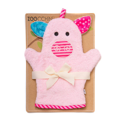 ZOOCCHINI Baby Snow Terry Bath Mitt - Pinky the Piglet-1