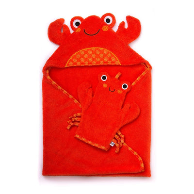 ZOOCCHINI Baby Snow Terry Bath Mitt - Charlie the Crab-2